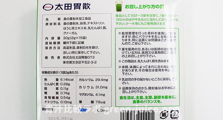 桑の葉青汁の原料・成分